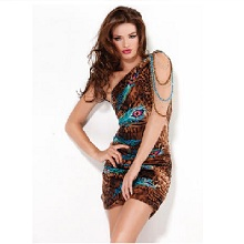 Jovani Leopard Peacock Short Party Dress